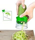 Nansia Gemüse Spiralschneider Hand für Gemüsespaghetti, Zucchini Spiralizer, Spargelschäler, Gurkenschäler, Kartoffelschäler -mit die Reinigungsbürste und Orangenschäler (Grün)