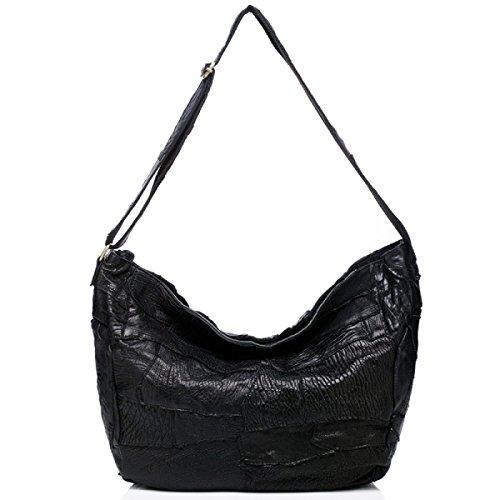 ZPFME Frauen Handtasche Damen Tasche Rindsleder Nähen Messenger Bag Mädchen Party Retro Damen Mode Schultertasche Große Tasche Black