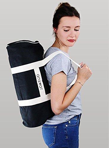 Sporttasche ansvar III aus Bio Baumwoll Canvas - Hochwertige Damen & Herren Sporttasche, Duffle Bag aus 100% nachhaltigen Materialien - mit GOTS & Fairtrade Zertifizierung, Farbe:anthrazit - 4