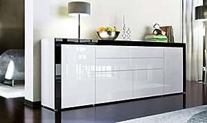 Buffet enfilade blanc au contour noir 200 cm