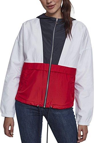 Urban Classics Damen Jacke Übergangsjacke Ladies 3-Tone Oversize Windbreaker - Farbe navy/white/fire red, Größe S -
