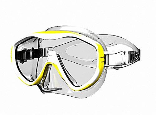 Tauchermaske Taucherbrille Tauchen Silikon Schnorcheln Rahmenlose Einglass (Einglas Gelb)