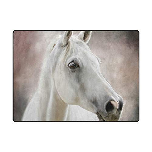 Mnsruu Pferd Tier Teppich Wohnzimmer Teppich, Teppiche für Wohnzimmer Küche Flur Schlafzimmer oder Kinderzimmer, 160 x 122 cm -