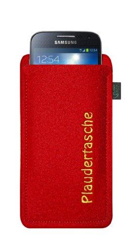 Filztasche für Samsung Galaxy S4 Mini und iPhone 5C, Plaudertasche, Filzfarbe lime, hochwertig gestickt, 100 % Wollfilz, Markenprodukt aus Deutschland Filzfarbe rot