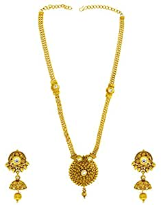 Anuradha Art Golden Colour Adorable Designer Studded Shimmering Stone Traditional Long Necklace Set For Women