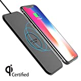 Viotek Fastpad Ultra-Slim Qi Chargeur sans Fil Cuir PU Tapis de Charge sans Fil pour iPhone X iPhone 88Plus 7.5W Chargement Rapide, résistant à l'eau, sans Chauffage (sans Adaptateur Secteur)