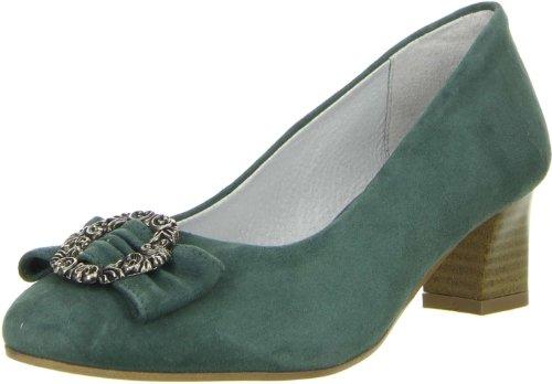 Vista Damen Trachtenschuhe Almhaferl Pumps grün, Größe:40;Farbe:Grün