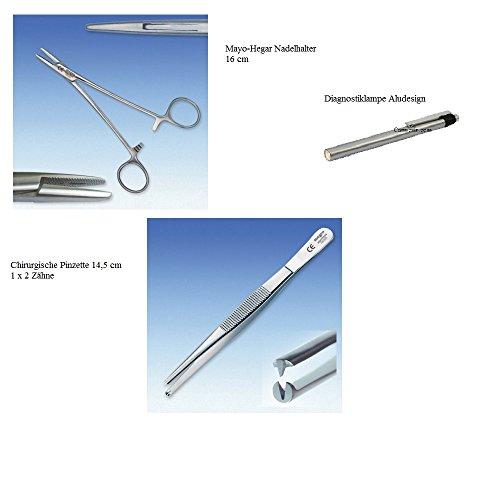 Mayo-Hegar Nadelhalter 16cm + Chirurgische Pinzette 14,5 cm + Diagnostiklampe