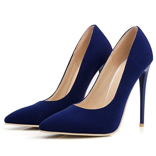 COOLCEPT Femmes Chaussures Pointu Talons Hauts Escarpins fete Soiree SU bleu