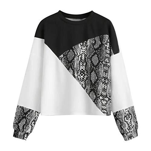 Shirt Damen Langarm Schlange Patchwork Elegant Oberteil Frauen Locker Herbst Bluse