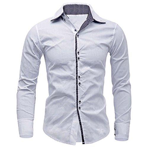 Men's Fashion Camisa Masculina Slim Fit Casual Shirts white
