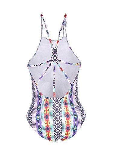Blooming Jelly Women s Tropical Tribal Print One Piece Swimsuit Bathing Suit Crisscross Medium
