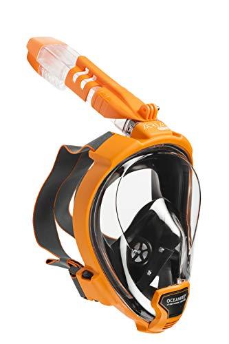 Ocean Reef - Masque de plongée Aria QR + - Masque de Plongée Visage Complet avec Pièce Buccale - Visions à 180 Degrés sous l'eau - Couleur Orange - Taille M/L