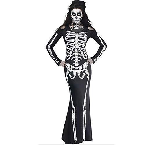 Kostüm Stadt Joker Party - MOOSAGE Plus Size Frauen Halloween gedruckt kostüm Damen Braut Langen ärmeln schwarz Scary Skeleton schädel Joker Cosplay Dress,S