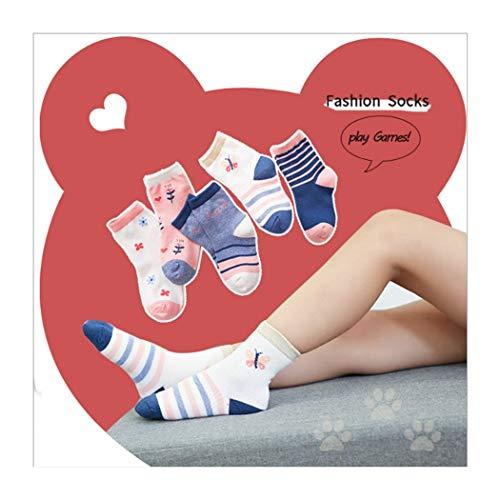 DCPPCPD Socken Kinder 5 Paar Set Baumwolle Cute Wärme Verdickung Atmungsaktivität Weichheit Komfort Zylinder 1-12 Jahre Alt, XL