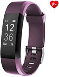 Fitness Tracker, Arbily YG3PlUS Monitor de ritmo cardiaco Tracker Pulsera inteligente Activity Tracker Sport Pedometer reloj de fitness con monitor de sueño Contador de pasos para caminar / correr / ciclismo Trabajar con iOS y Android Phone (purple)