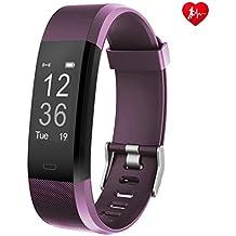 Fitness Tracker arbily yg3plus Heart Rate Monitor Smart pulsera actividad rastreador deporte podómetro con impermeable/Call mensaje control/monitor de sueño/cámara/calorías/sedentario alerta para Android y iOS (purple)