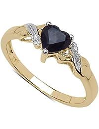 La Colección Anillo Zafiro: Anillo Oro 9ct en forma con corazón Zafiro y set Diamantes