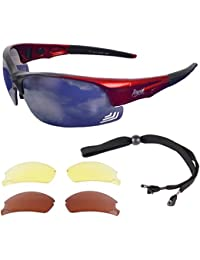 Rapid Eyewear Edge Red UV400 SUNGLASSES FOR PILOTS With Interchangeable UV400 Lenses, Meet CAA Recommendations. For Men & Women. Also Suitable for Sports Including Cycling, Cricket, Jogging etc.