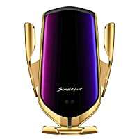 EzzySo The Updated Magic Clip Smart Sensor 5v2a Quick Charge Wireless Charger Mobile Phone Positioning Car Wireless Charger - Gold