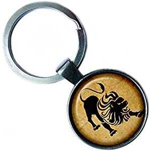Zodiac Leo Tierkreis Löwe Silver Keychain Silber Schlüsselanhänger