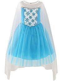 Mädchen Kleid Elsa Prinzessin Kostüm Gr. 92-146