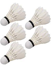 Fdit Volantes de Bolas de bádminton de Plumas duraderas de 5 Piezas para Entrenamiento Interior al Aire Libre 2.6 * 2.6 * 7.5 Pulgadas
