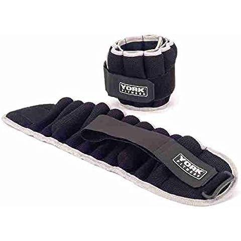 York Fitness - Juego de 2 pesas para el tobillo, 5 kg, color negro