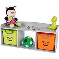 Preisvergleich für IRIS, Kindersitzbank 'Kids Bench' mit Stauraum / Aufbewahrung, Holz, grau, 101,4 x 34 x 43,4 cm