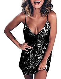 CLOOM Vestiti Donna Eleganti Moda Abito Lungo Elegante Donna Cerimonia Sexy  Mini Abito da Donna Senza Maniche con Scollo a V con Scollo a V… 2510e2099ab