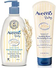 Aveeno Baby Daily Moisturising Bath for Delicate Skin (354ml) & Baby Soothing Relief Moisture Cream Fragra