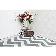 """Green Decore 90 x 150 cm """"de Molly Williams"""" para interiores/Eco Reversible alfombra ligera con función atril y al aire libre, gris/blanco"""