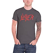 Slayer Herren T Shirt Dark Grau Distressed Rot band Logo offiziell