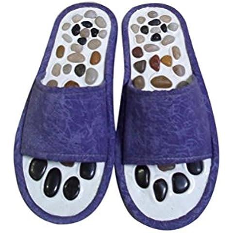 ZHLONG Lady pantofole naturale ghiaia massaggio piede punto salute casa pantofole di massaggio , blue , large - Grande Punto Di Sonno Cozy