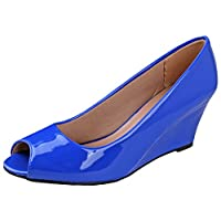 Forever Link Women's Peep Toe Slip on Wedge Pump Blue 7.5