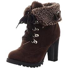 Botines Tacon de Cuña para Mujer Zapatos Plataforma por ESAILQ A
