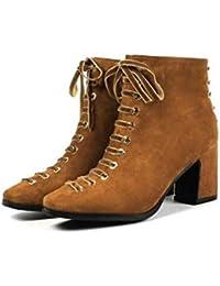 IWxez Botas de Moda para Mujer Botas de Gamuza/Piel de Oveja Tacón Grueso Botines con Punta Cerrada/Botines Negro/Marrón Claro, Marrón…