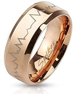 Paula & Fritz® Ring aus Edelstahl Chirurgenstahl 316L roségold 6 oder 8 mm breit mit lasergraviertem Herzschlag...