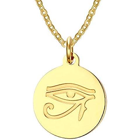 LianDuo occhio in acciaio inox di Horus simbolo tondo ciondolo collana in oro per le donne e Men.Free