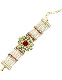 Saraa Dazzling Gold Plated High Quality Pearl Kundan American Diamond Red Stone Bracelet for Girls/Women