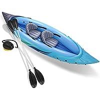 JIEXIAO Kayak, 1 Persona Kayak Inflable, Inflable del Agua Barco Canoa Aventura Rafting Kayak Individual con levas de Bomba de Aire y Aluminio