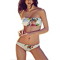 SunIfSnow donna floreale reggiseno senza spalline senza maniche petto pad rimovibile split bikini