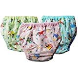 Wonder Star Premium Quality Multicolor Reusable Dippers Pants For Small Baby. Outside Printed PVC Plastic Waterproof Cotton Inside. Diaper/Langot For 6-12 Months Babies Pack Of 3Multicolor. (Assorted Mix Color & Design)