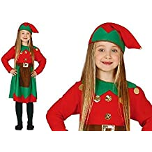 Weihnachtself Kostüm Kinder Mädchen mit Mütze - Elfen Kostüm für Kinder von Größe 92 bis 146 - komplettes Elf Kostüm Kinder Mädchen - Elfenkostüm Kinder - Weihnachtskostüm Kinder (110/116)
