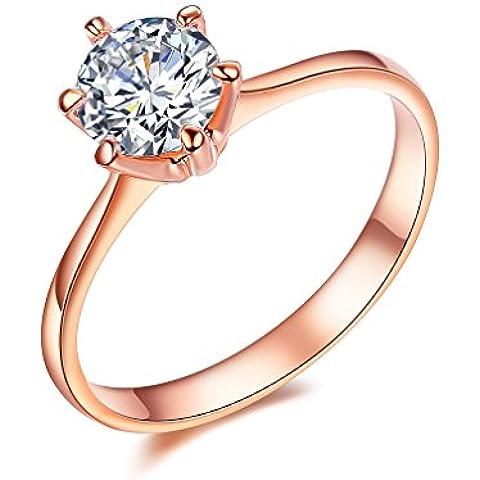 NewBox 1Carat CZ cristal 18ct Rose chapado en oro solitario compromiso anillos de boda para las mujeres