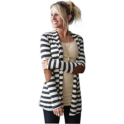 Xinantime Moda Cappotto Manica Lunga Cardigan a Righe Colore Bianco