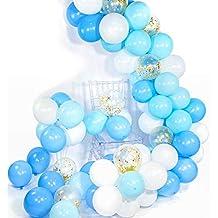 PuTwo Globos Azules y Blancos 70 pzas 12 Pulgadas Globos Azules Bebé Globos Azules Globos Blancos