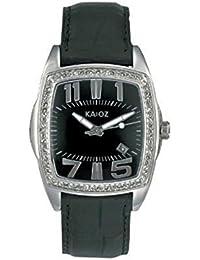 KA:OZ A7439S5I - Reloj para mujeres, correa de cuero color negro
