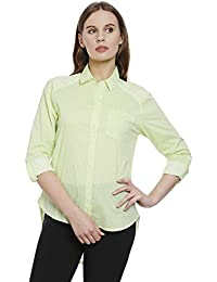 Bombay High Women's 100% Cotton Printed Rollup Sleeves Shirt
