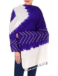Violet Bleu Crème Châle Wrap Cadeaux Femmes indienne laine Tie-Dye à la main pour Sœur 36x80 pouces